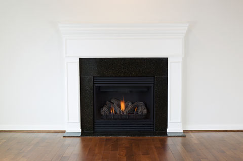 Horizontal photo of a natural gas firepl