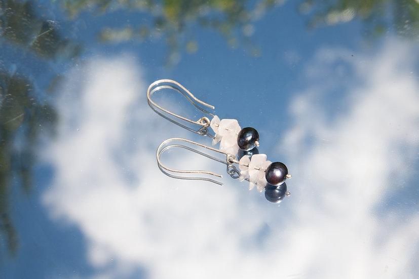 Rose Quartz and pearl danglers