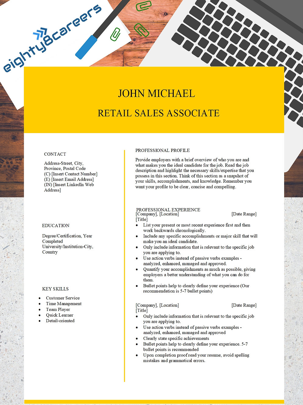 Retail Associate Cover Letter & Resume Template: Relevant Content Included  -JM