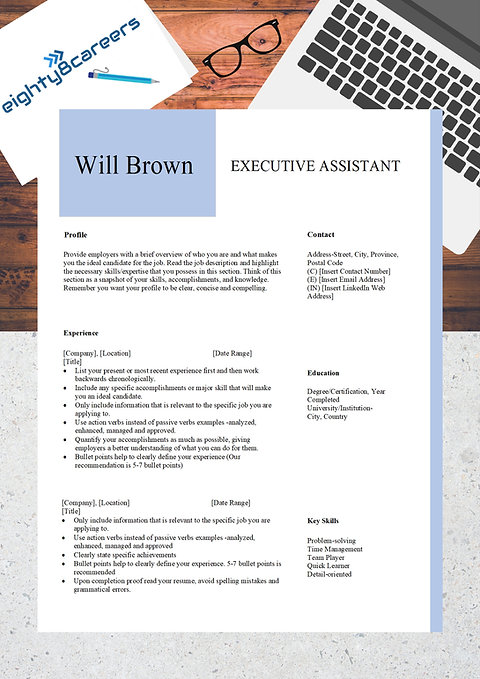 Executive Assistant Cover Letter & Resume Template: Content Included- WB