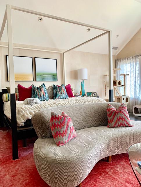 Color driven master bedroom