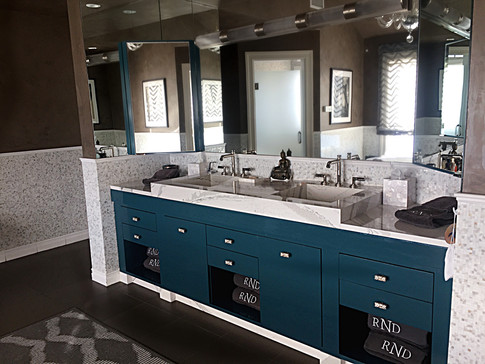 Master bath custom teal vanity