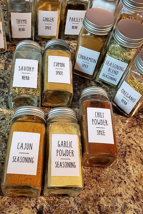 Custom Spice Labels with Glass Jars (Set of 10)