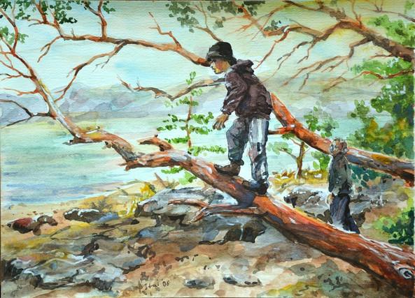 boys at a lake