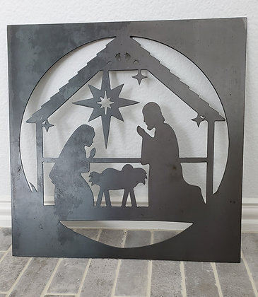 """Metal Sign """"Nativity"""" 19in Square"""