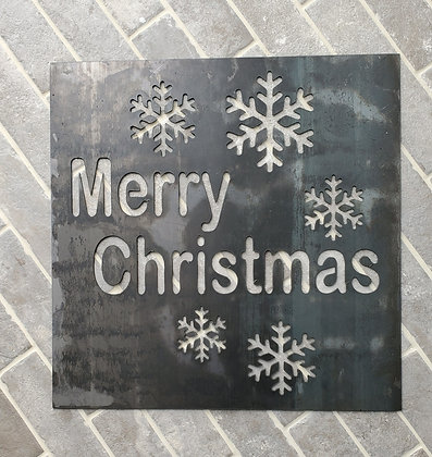 """Metal Sign """"Merry Christmas"""" 19in Round"""
