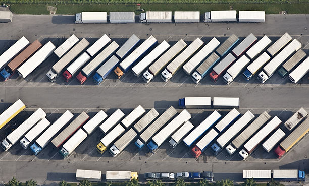 Birds-eye view of trucks.