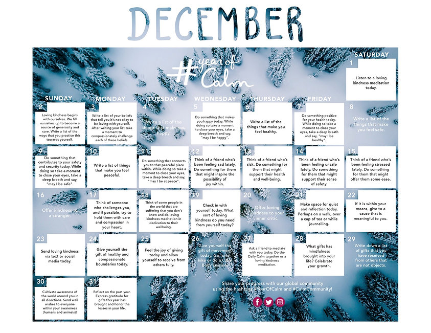 December Mindful Living Calendar (Printa