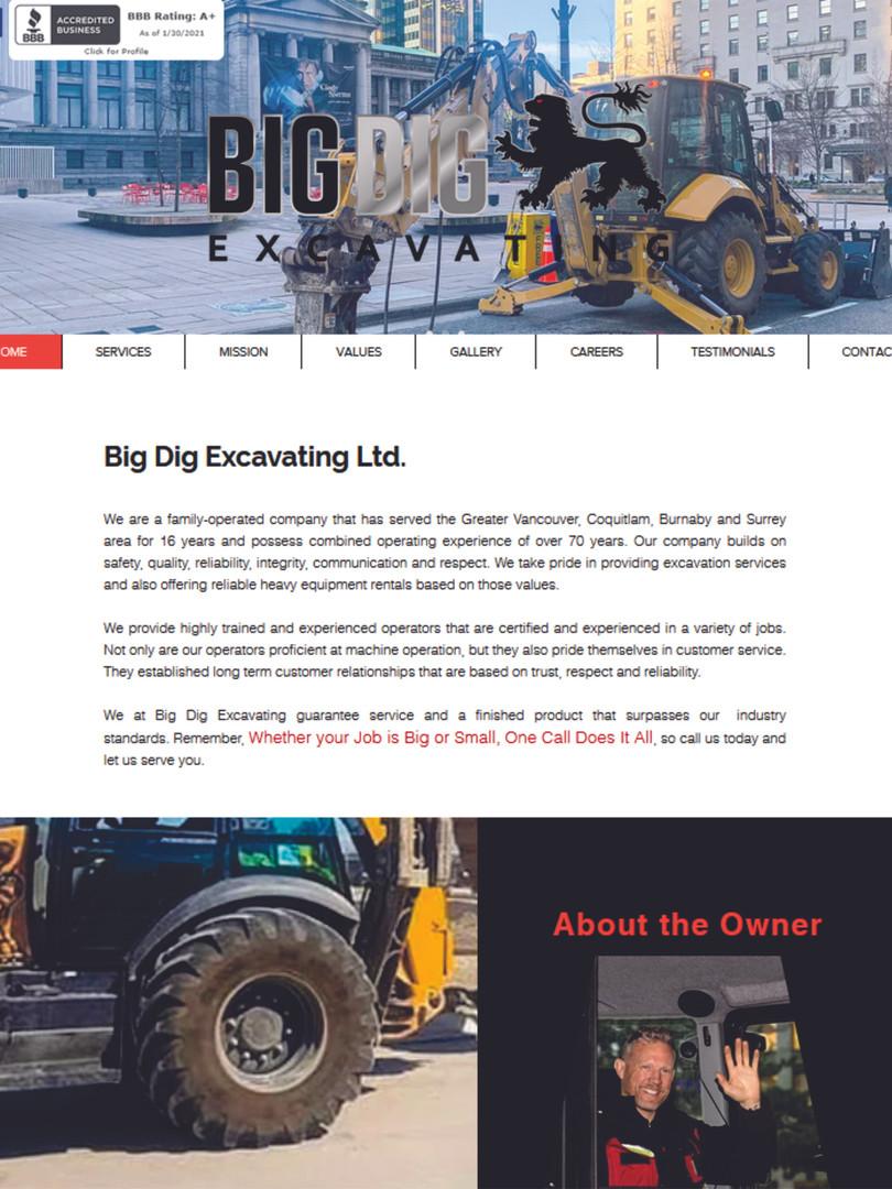 Big Dig Excavating Website www.bigdigexc