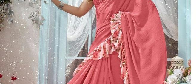 Triveni Sarees Chiffon with Blouse Piece Saree