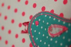 Wandbild 23cm Design Vogel Stickrahmen mit applizierten Stoffmotiven