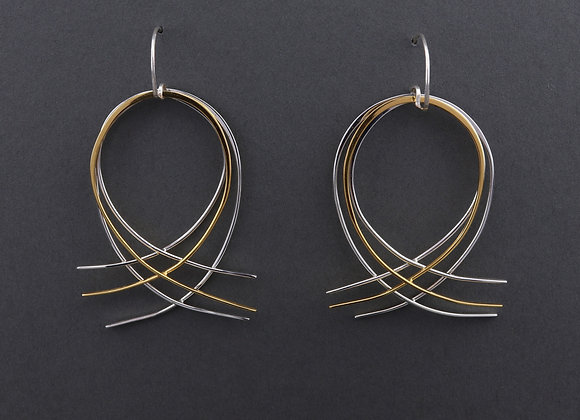 Filament round earrings in recycled sterling silver with gold vermeil