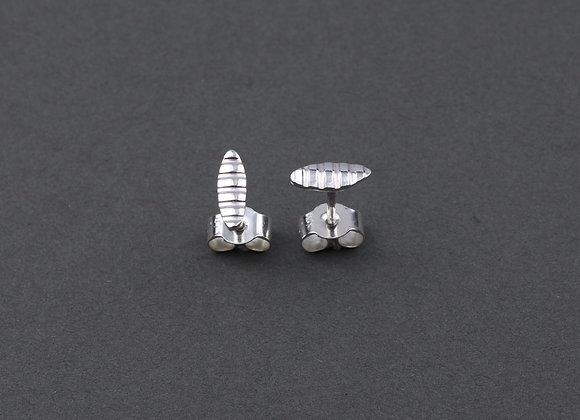 Sea Oak mini pod ear studs in recycled sterling silver