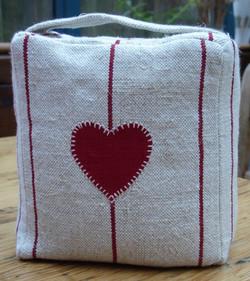 Linen doorstop with heart