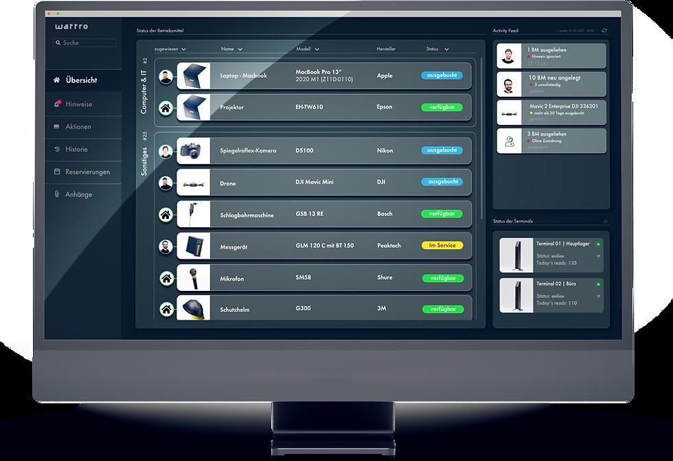 Das wattro Dashboard am Computer oder am Smartphone lässt sich individuell konfigurieren und bieten schnellen Überblick über Ihr gesamtes Inventar.