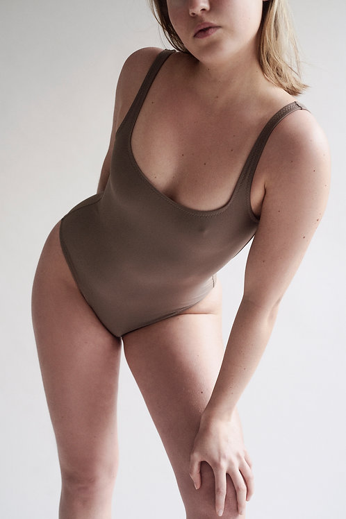 Toffee Square Neck One Piece