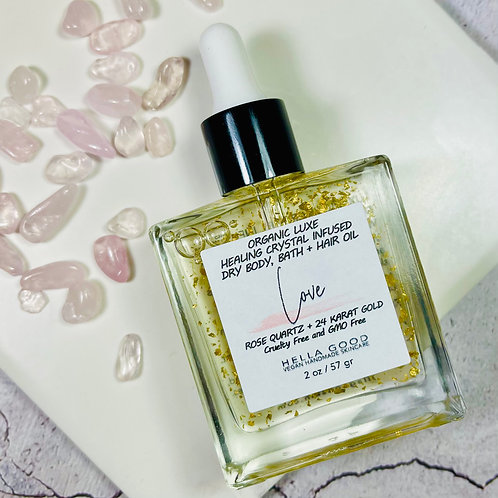 Love - Luxe Healing Rose Quartz Infused Dry Body, Bath + Hair Oil