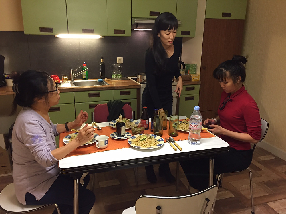 At the dining table