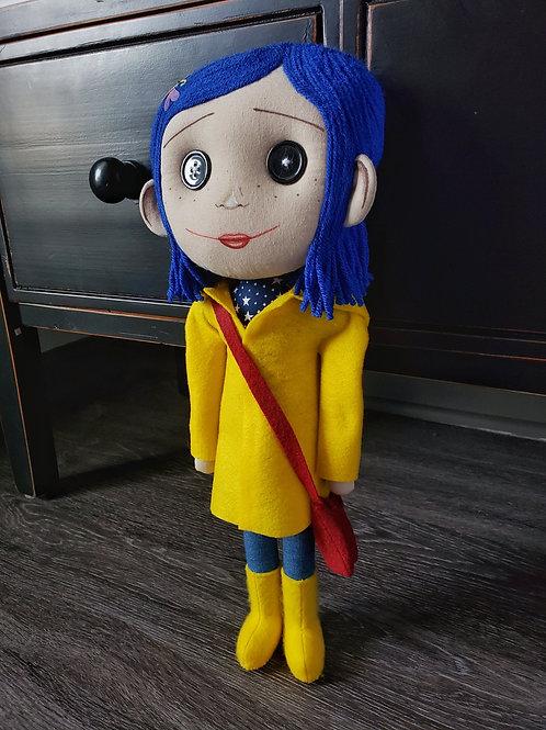 "17"" Handmade Coraline-Inspired Art Doll"