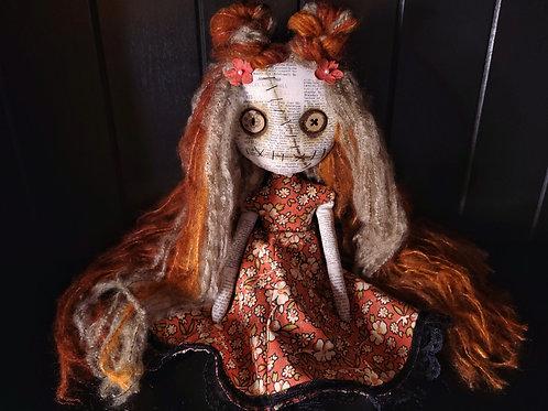 "13"" Handmade Mini Moody Doll - Orange"