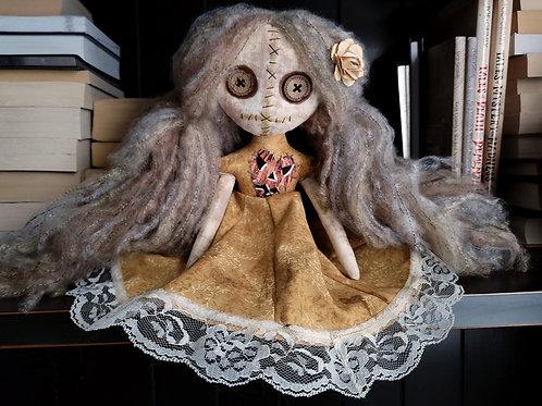 "13"" Handmade Mini Moody Doll (Gold Dress)"