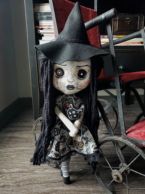"""16"""" Handmade Witch Doll with Cat"""