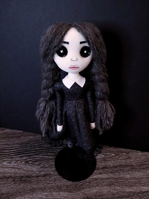 "18"" Handmade Button-Eyed Wednesday Addams Doll"
