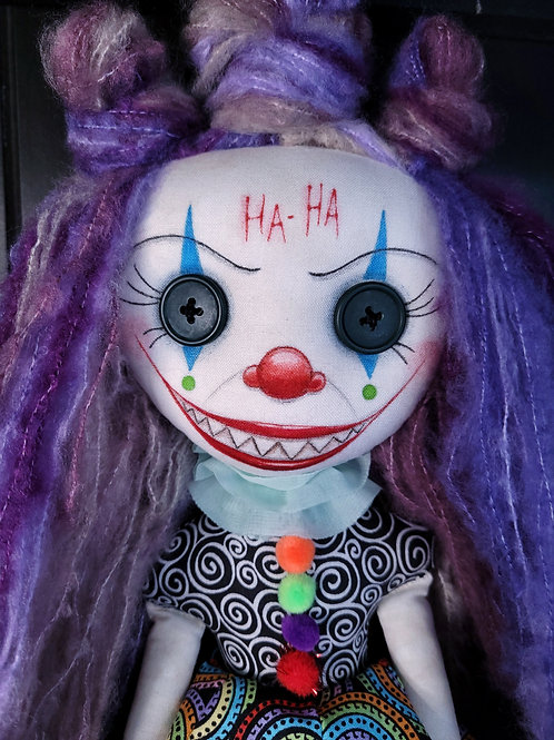 "18"" Handmade Chatter Clown Doll"