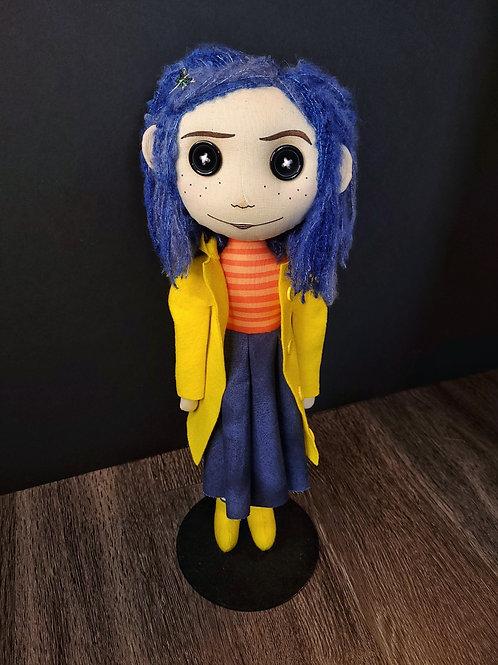 "18"" Handmade Coraline-Inspired Doll (Button Eyes - Yellow Coat)"