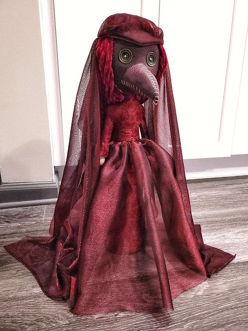 "22"" Handmade Free-standing Plague Doctor Doll (Red Plague)"