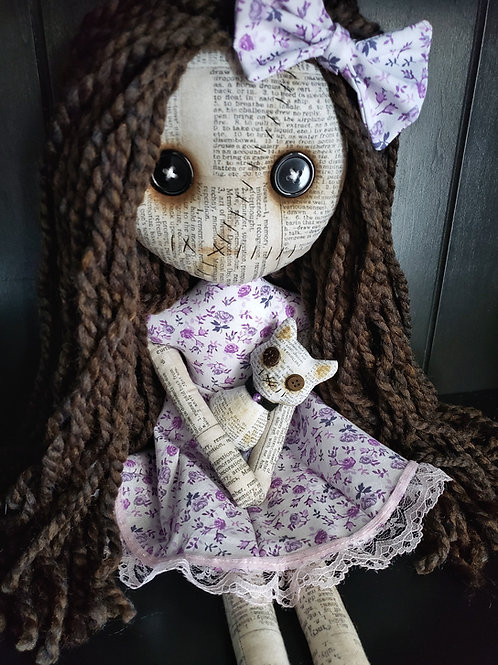 "16"" Handmade Grungy Doll w/ Grungy Cat"