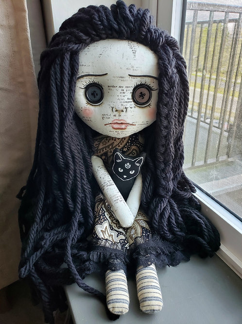 "16"" Handmade Doll with Cat"