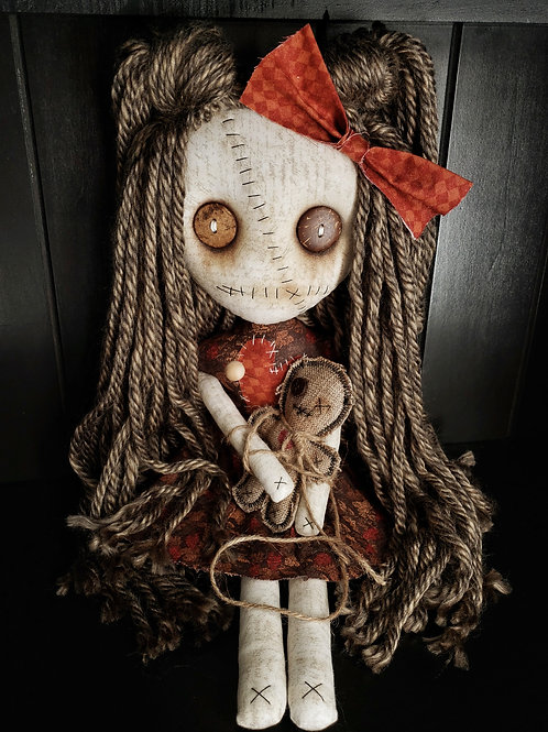 "16"" Handmade Voodoo Doll w/ Small Voodoo Doll"