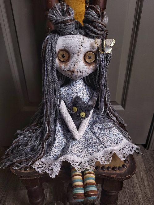 """18"""" Handmade Grungy Doll with Cat (Gray Cat)"""