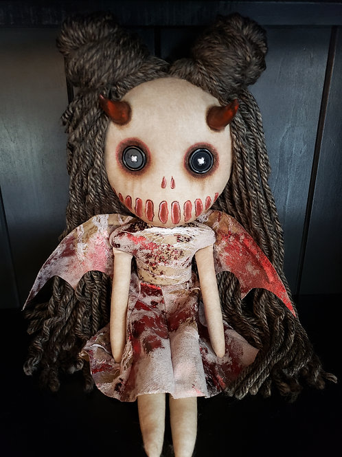 "16"" Handmade Devil Doll with Wings"