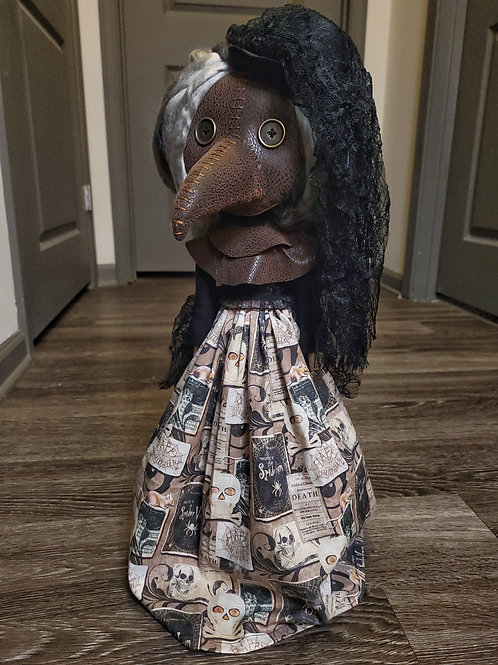 "22"" Handmade Free-standing Plague Doctor Doll (Skull Skirt)"