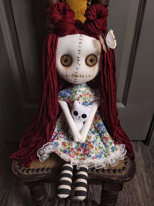 "18"" Handmade Grungy Doll with Cat (White Cat)"