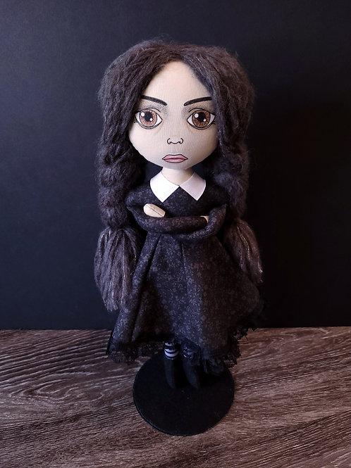 "18"" Handmade Wednesday Addams Doll"