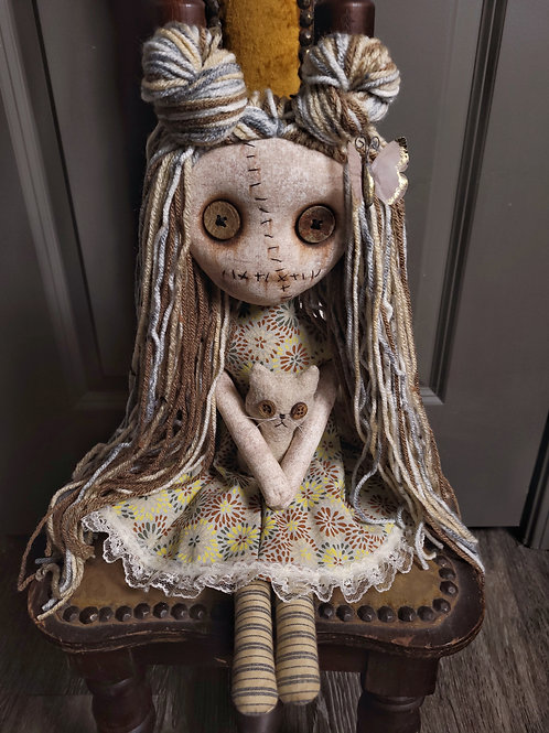 """18"""" Handmade Grungy Doll with Cat (Tan Cat)"""