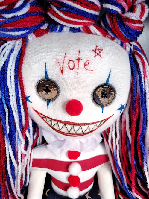 "18"" Handmade Chatter Clown Doll ""Vote"""