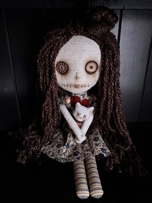 "16"" Handmade Voodoo Doll w Cat"
