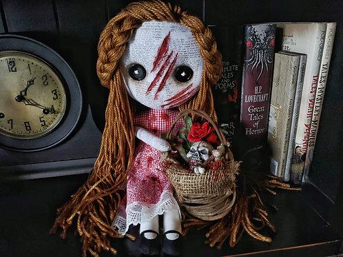 "16"" Handmade Slashed-face Doll w/ Bone Basket"