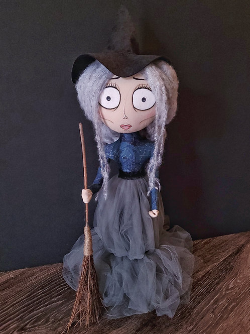 """20"""" Handmade Witch Doll with Broom"""