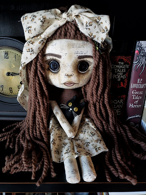 """16"""" Handmade Doll with Cat"""