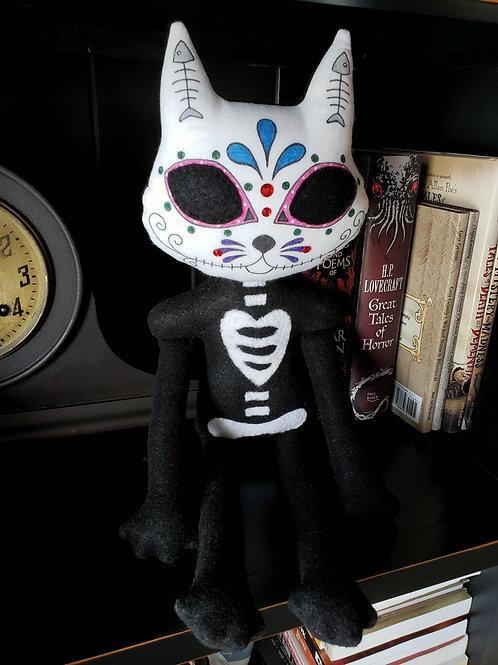 """20"""" Handmade Sugar Skull Cat"""