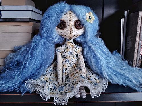 "13"" Handmade Mini Moody Doll (Solid Blue Hair)"