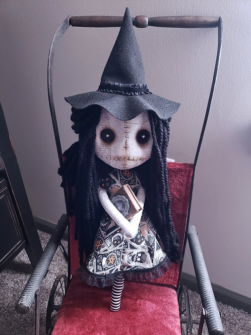 """18"""" Handmade Witch Doll with Book"""