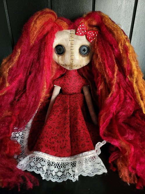 "13"" Handmade Mini Moody Doll (Red)"