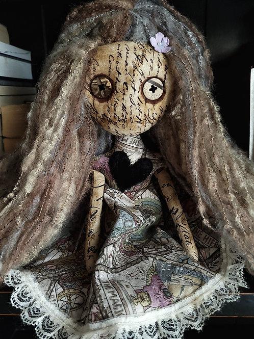 "13"" Handmade Mini Moody Doll (Black Heart)"