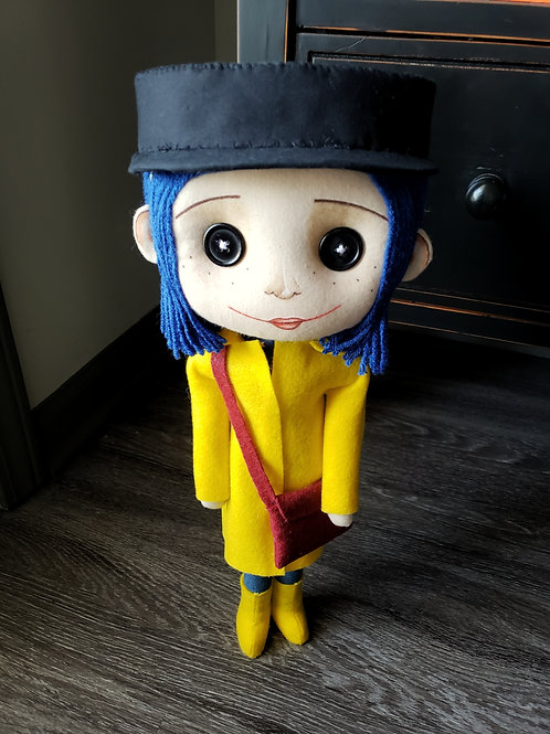 "17"" Handmade Coraline-Inspired Art Doll"
